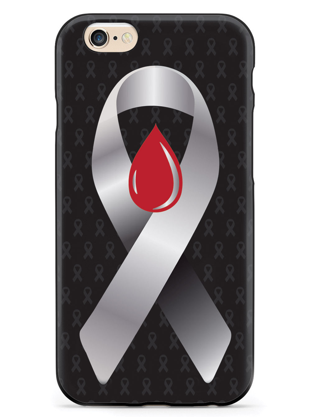 Grey with Blood Drop Awareness Ribbon - Black Case