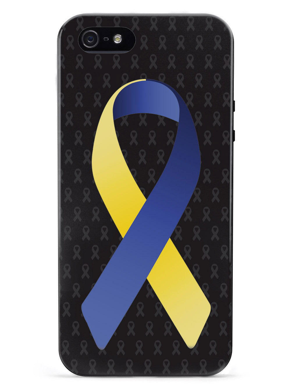 Blue and Yellow Awareness Ribbon - Black Case