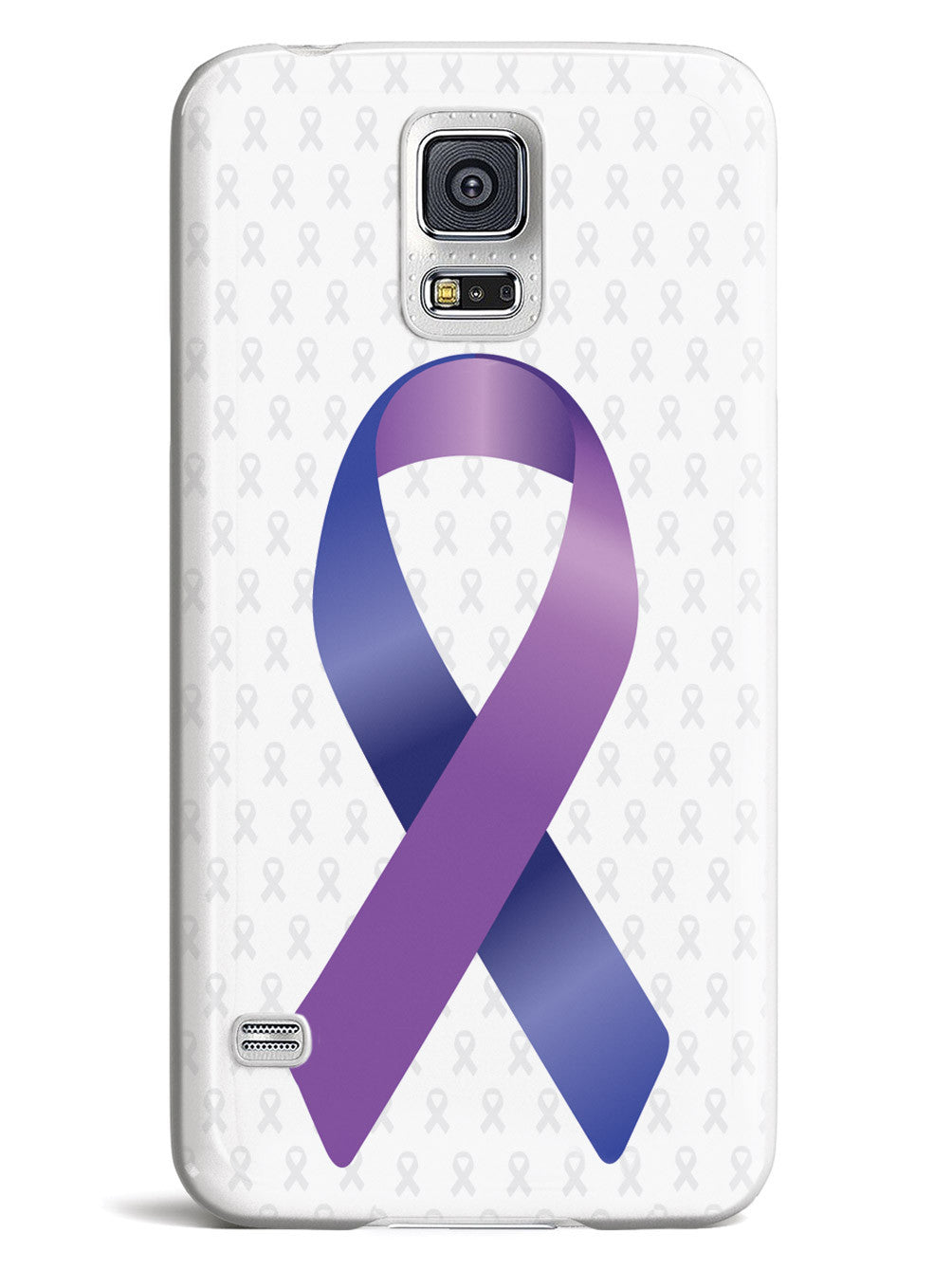 Blue and Purple Awareness Ribbon - White Case