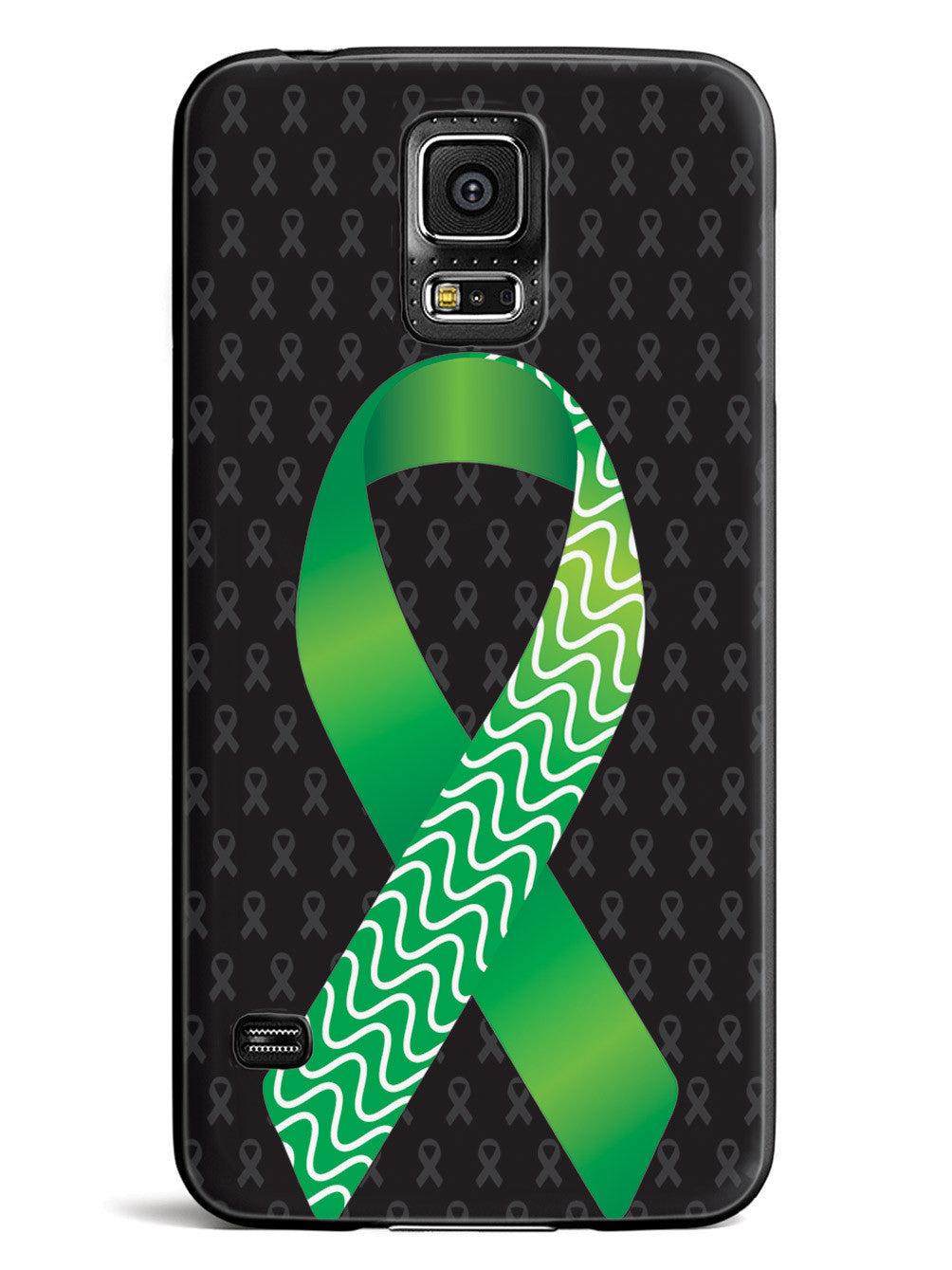 Green and Wavy Lines Awareness Ribbon - Black Case