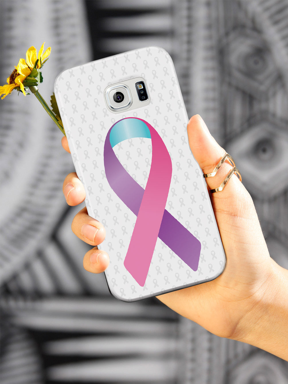 Pink Purple and Blue Awareness Ribbon - White Case