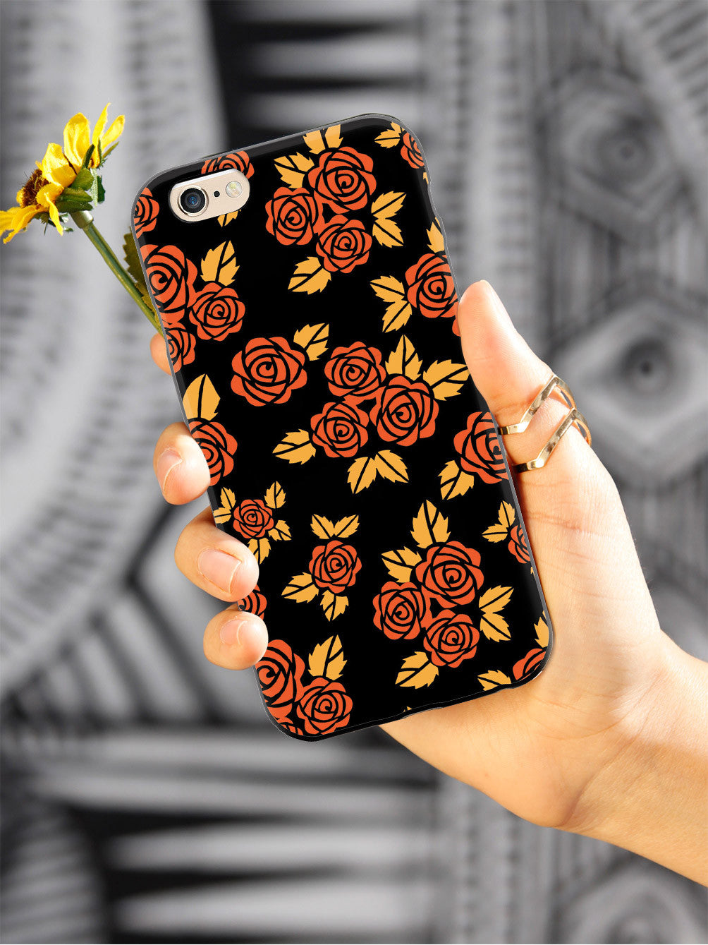 Orange Rose Pattern Case