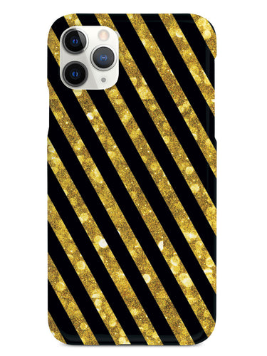 Gold Glitter Stripes - Black Case