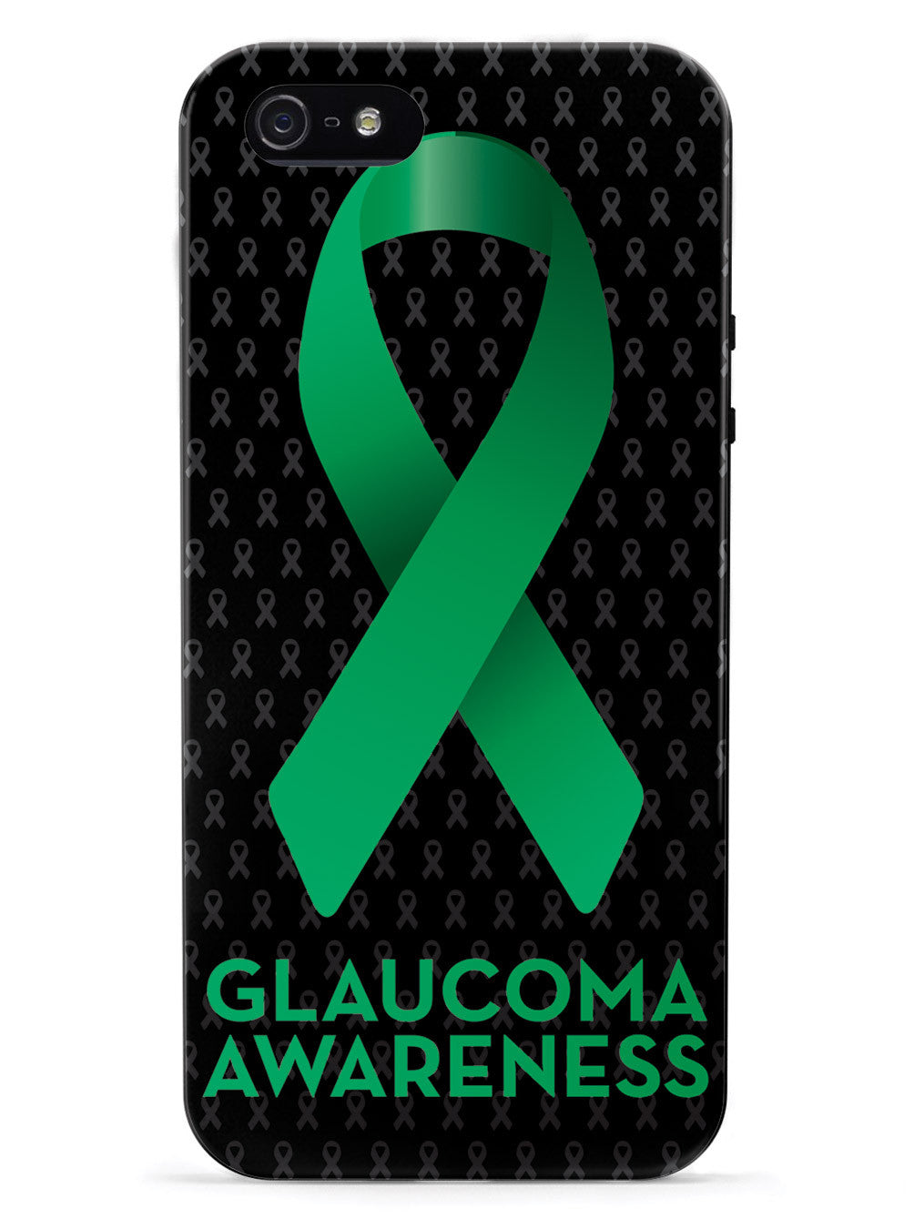 Glaucoma Awareness Green Ribbon - Black Case