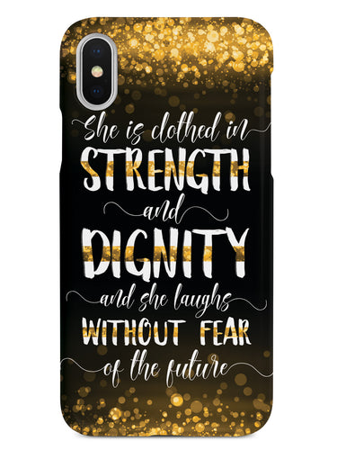 She Is Clothed in Strength and Dignity - Thin Gold Line Case