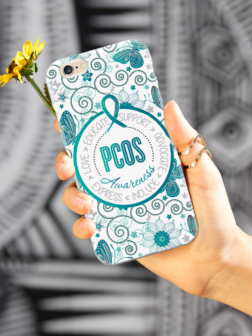 PCOS Awareness - Butterfly Pattern Case
