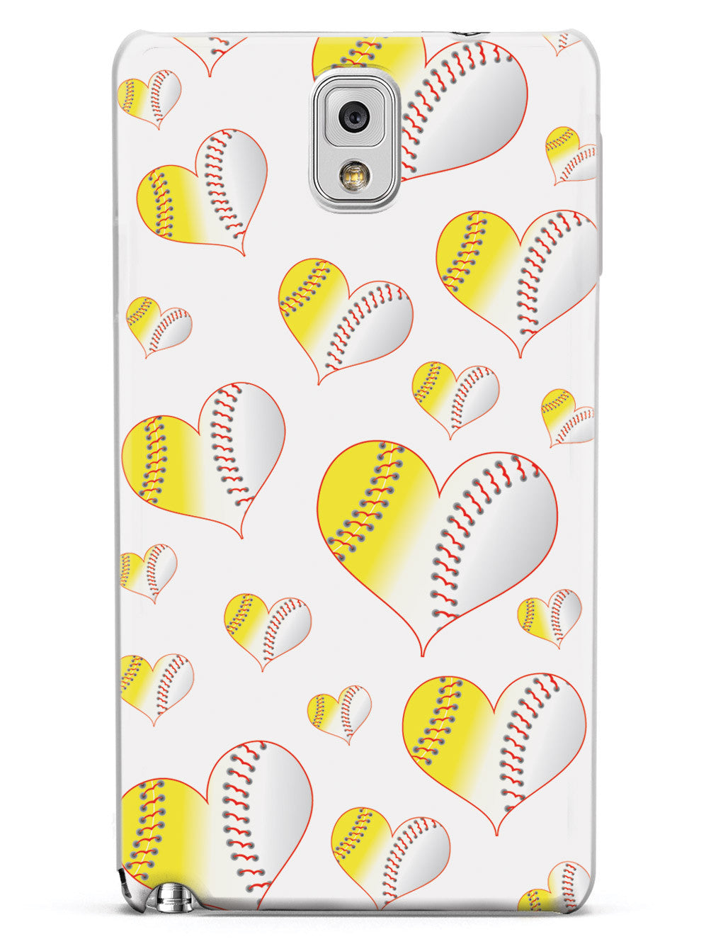 Baseball Softball Combo Hearts Pattern - White Case