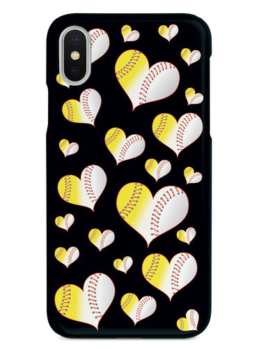 Baseball Softball Combo Hearts Pattern - Black Case
