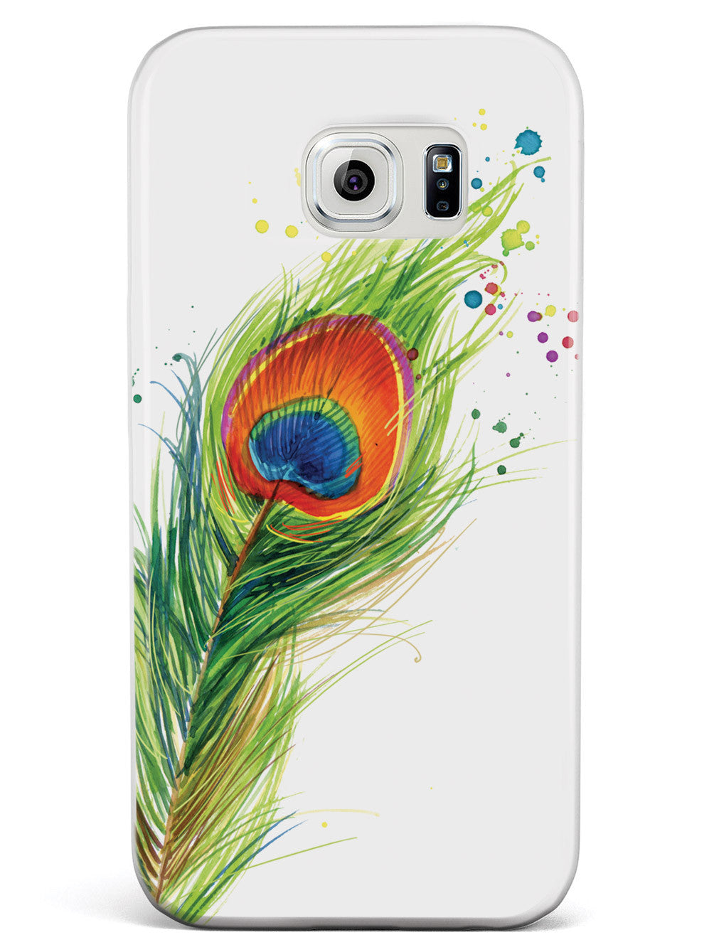 Watercolor Peacock Feather Case