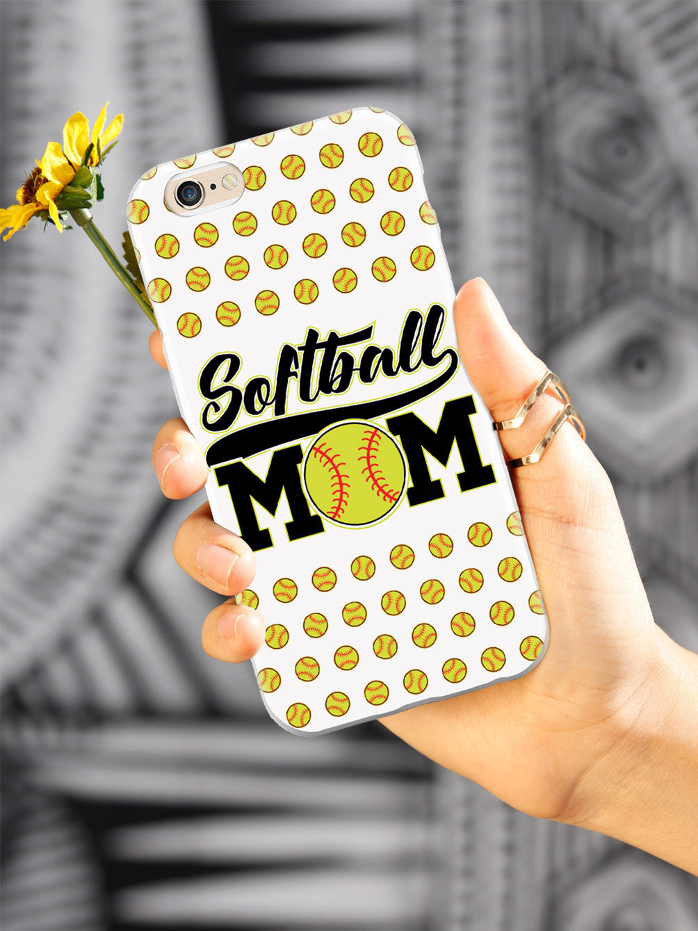Softball Mom - White Softball Pattern Case