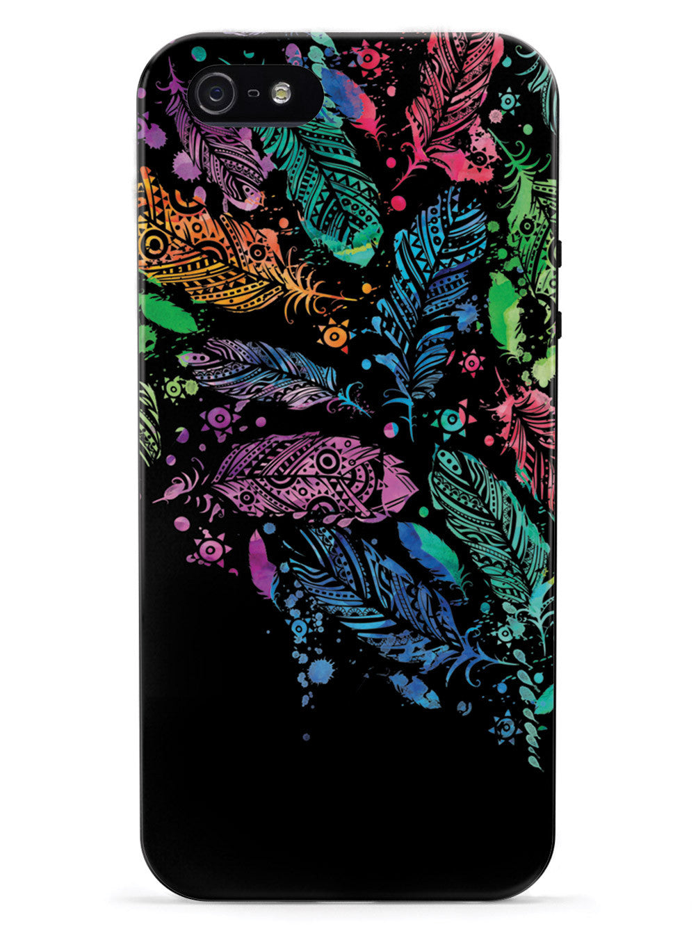 Watercolor Feathers - Black Case
