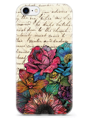 Vintage Handwritten Letter and Flowers Case