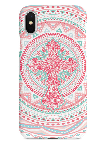 Ornate Cross - Coral and Mint Case