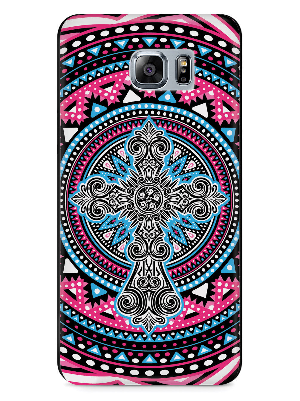 Ornate Cross - Pink and Blue Case