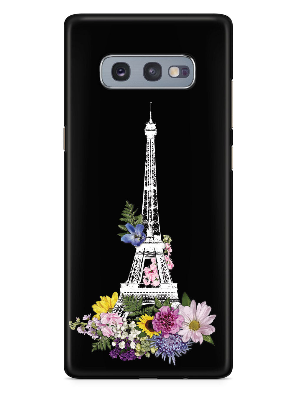 Eiffel Tower Drawing and Flowers - Black Case