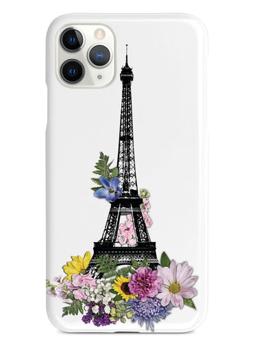 Eiffel Tower Drawing and Flowers - White Case