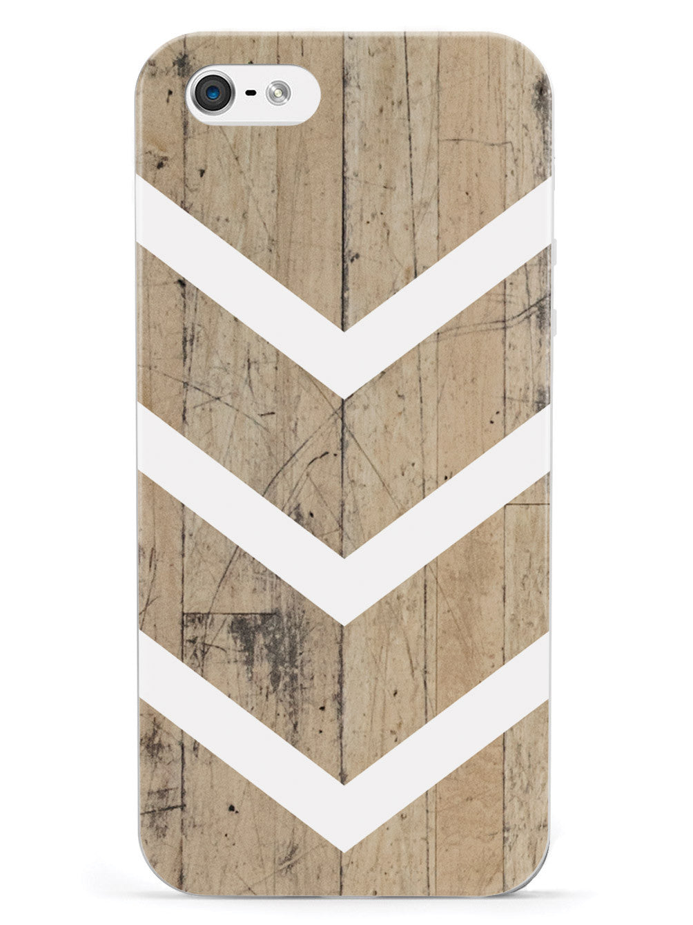 Faux Wood and White Chevron Case