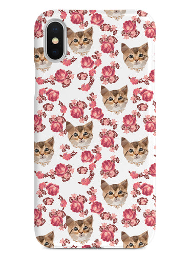 Roses and Kittens Pattern - White Case