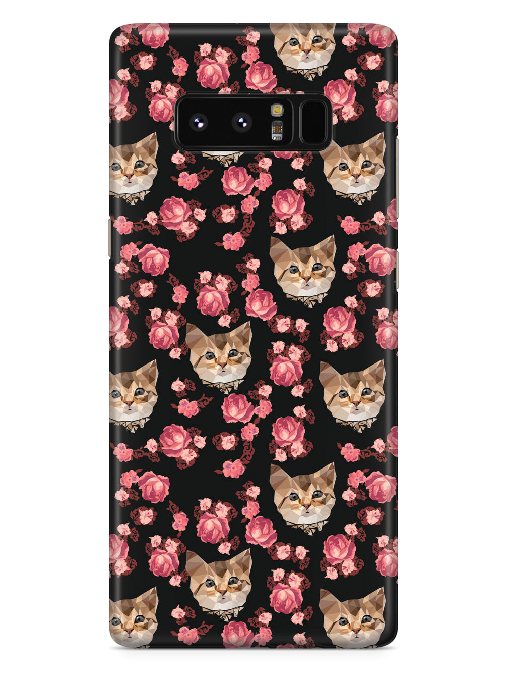Roses and Kittens Pattern - Black Case