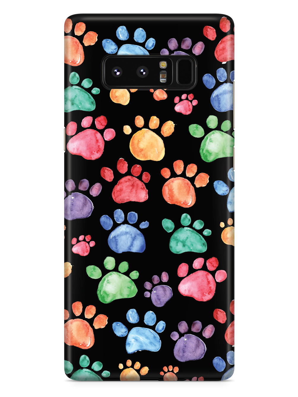 Watercolor Paw Prints - Black Case