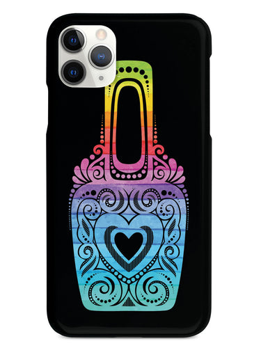 Fancy Nail Polish Bottle - Rainbow Watercolor - Black Case