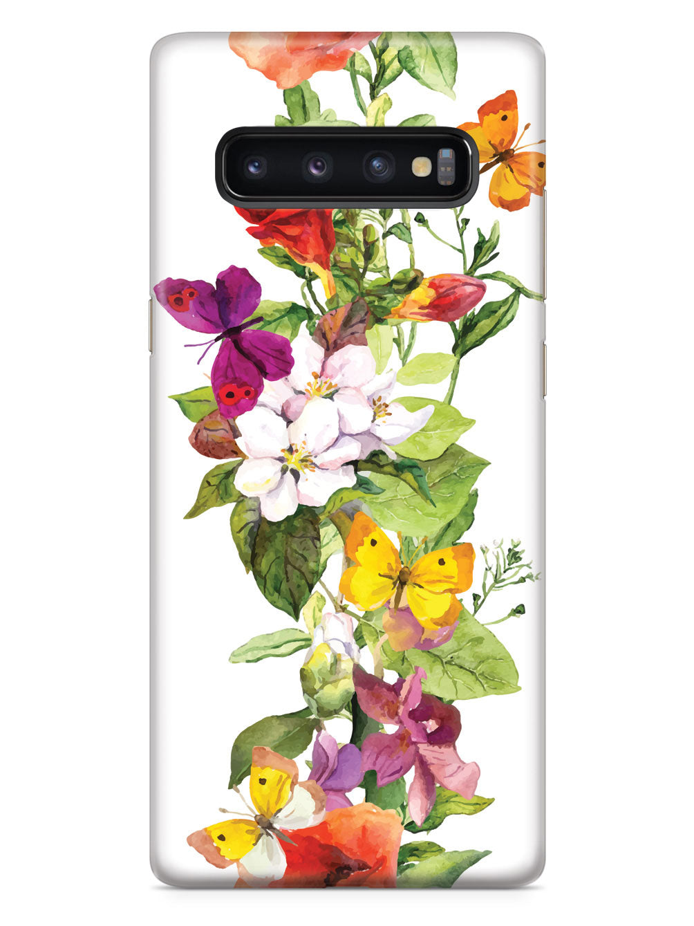 Watercolor Flowers and Butterflies Case
