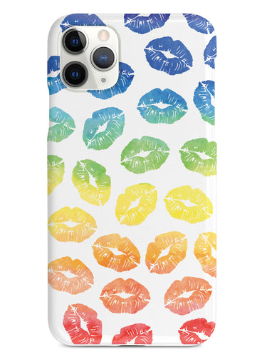 Lip Print Pattern - Watercolor Rainbow - White Case