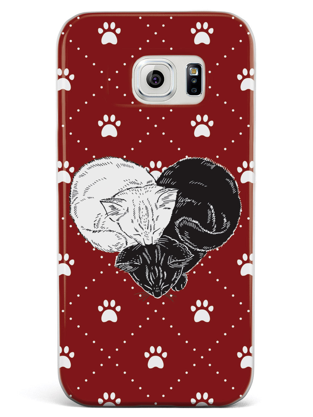 Yin Yang Cat Heart - Red Case