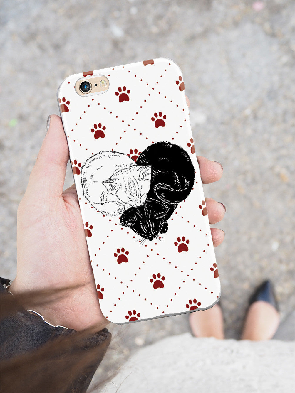 Yin Yang Cat Heart - White Case
