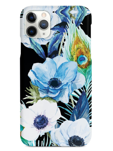 Peacock Feather Flowers - Black Case