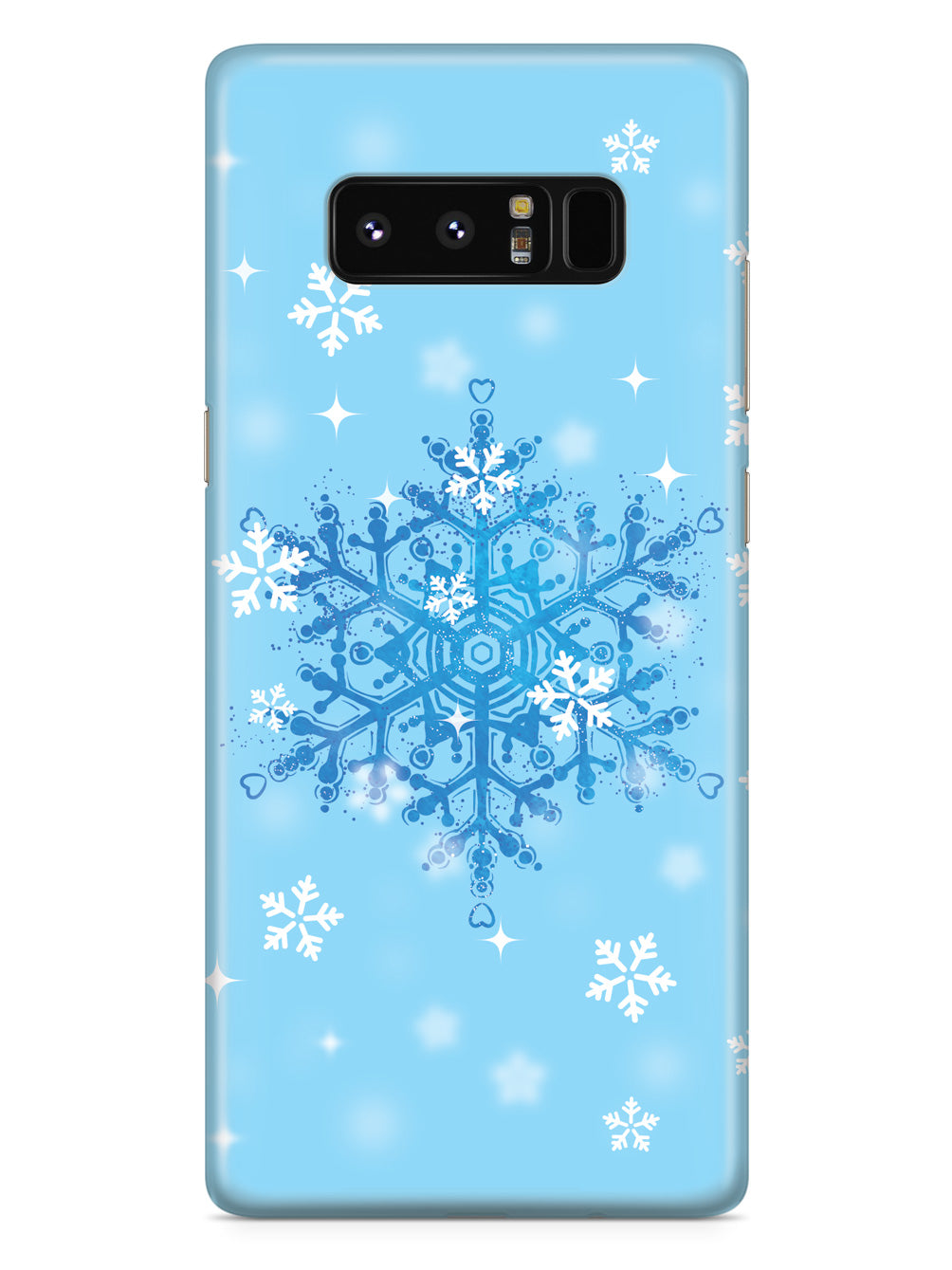 Blue and White Snowflakes - Black Case