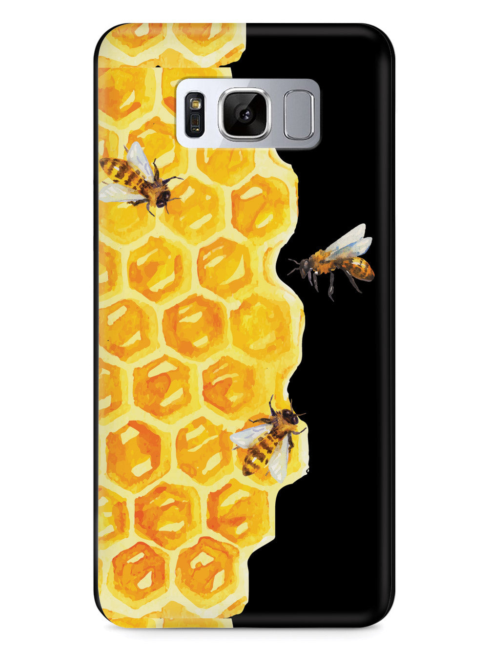 Watercolor Bees on Honeycomb - Black Case