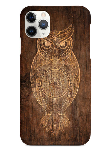 Faux Wooden Mandala Owl - White Case