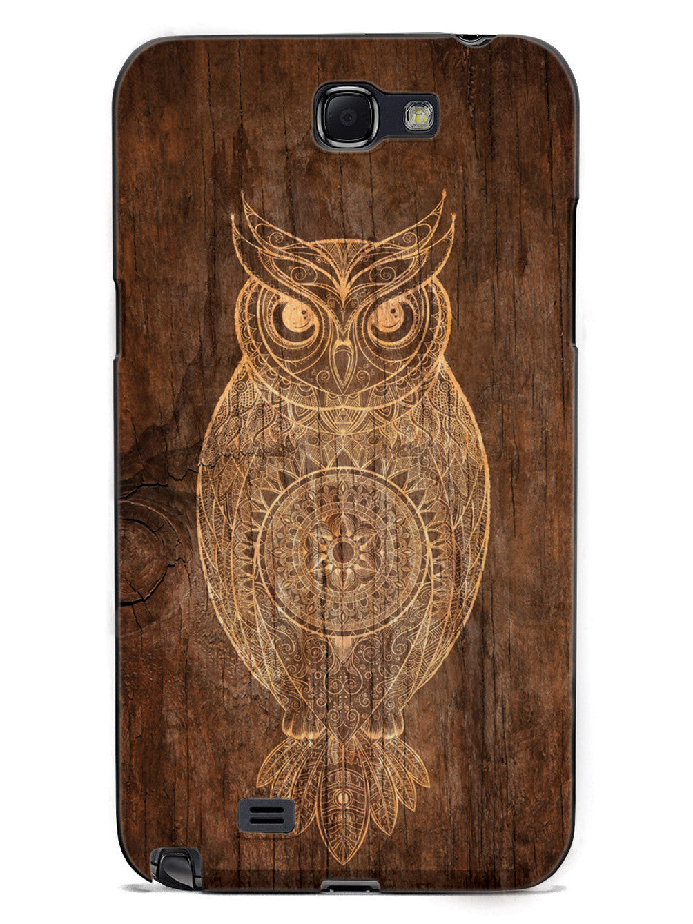 Faux Wooden Mandala Owl - Black Case