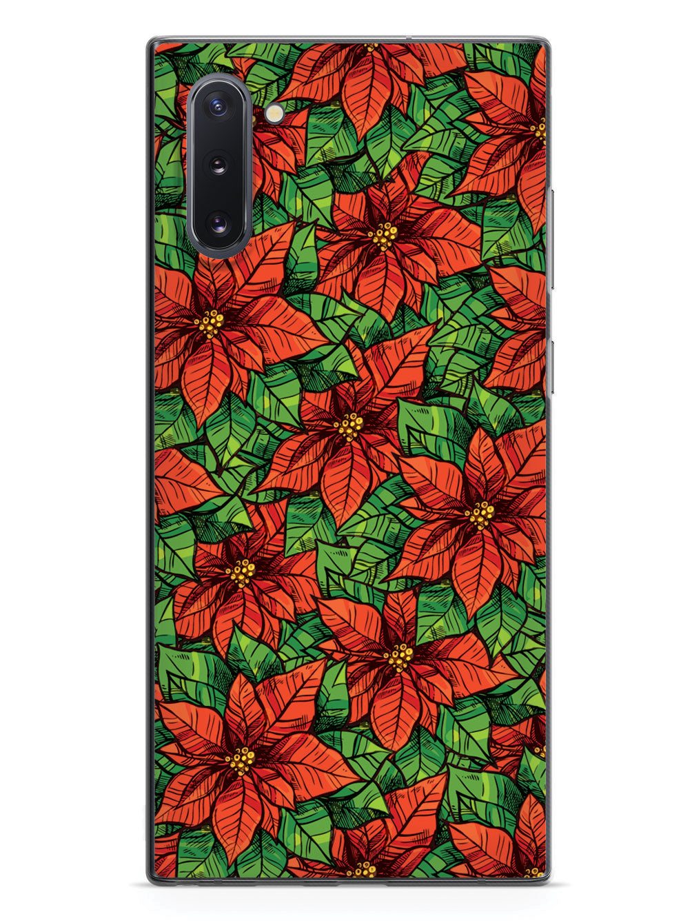 Red Poinsettia Illustration - Black Case