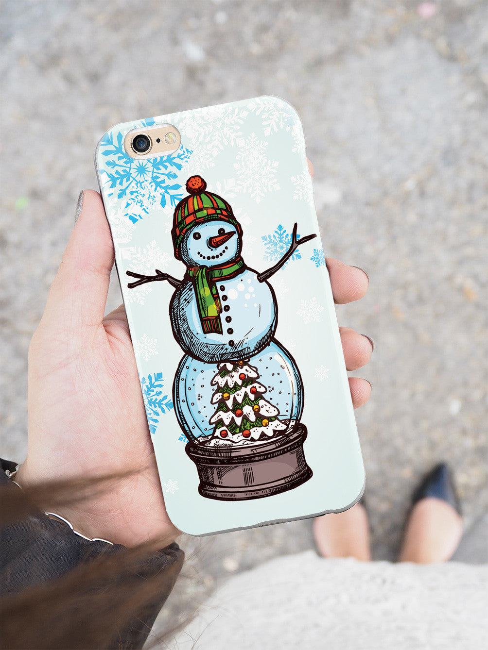 Snow Globe Snow Man - White Case