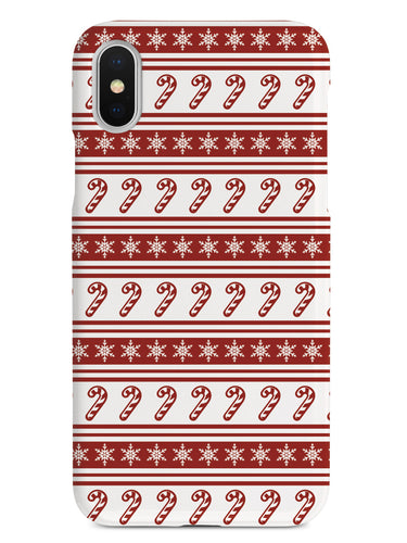 Candy Cane Snow Flakes Pattern - White Case