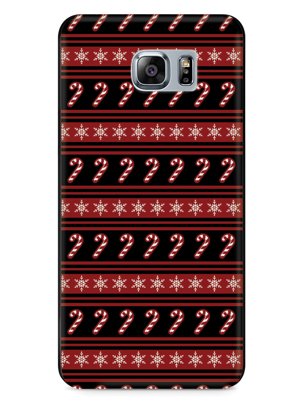 Candy Cane Snow Flakes Pattern - Black Case