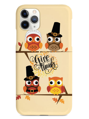 Give Thanks - Thanksgiving Owls - Black Case