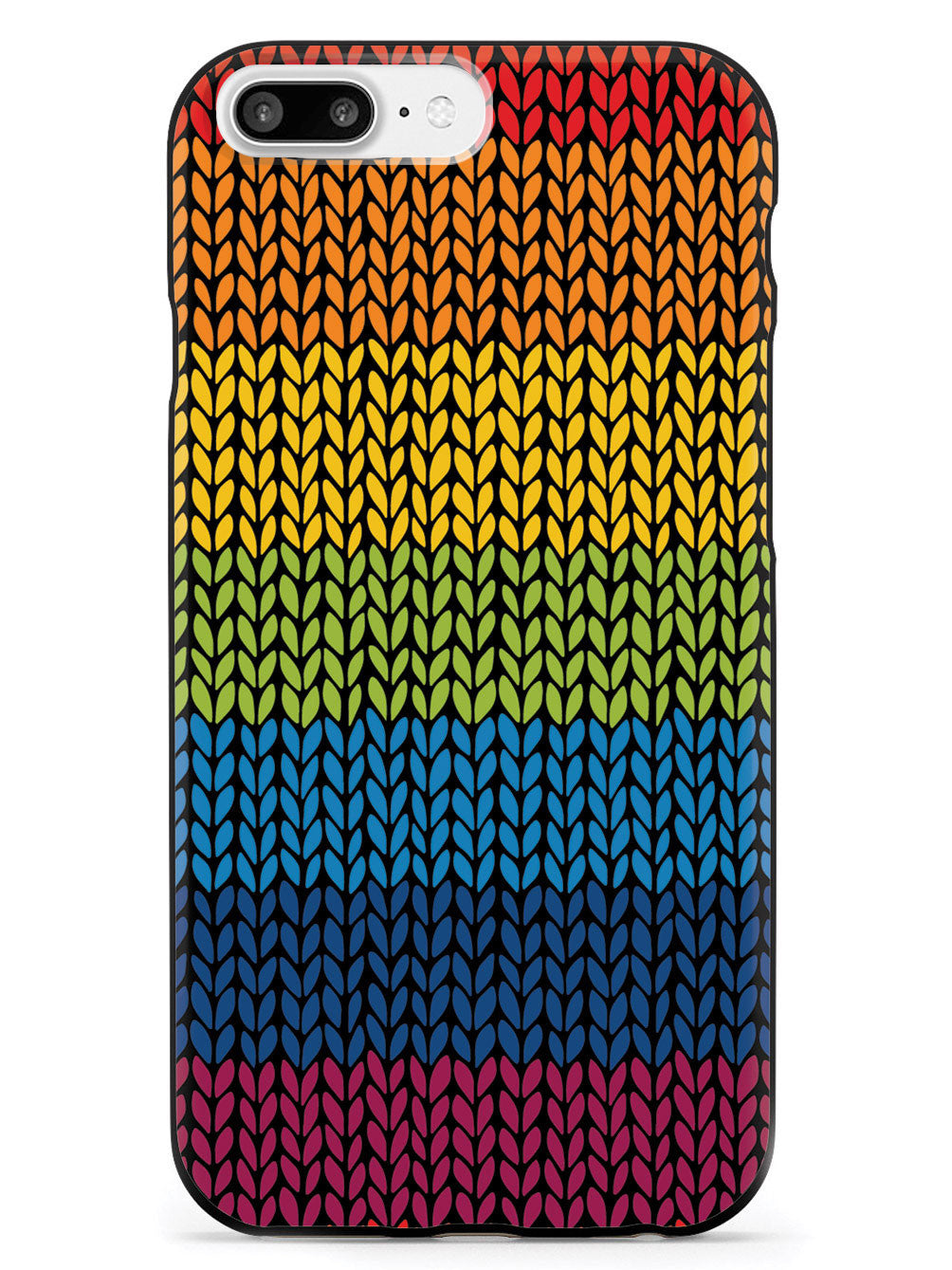 Rainbow Crochet Texture - Black Case