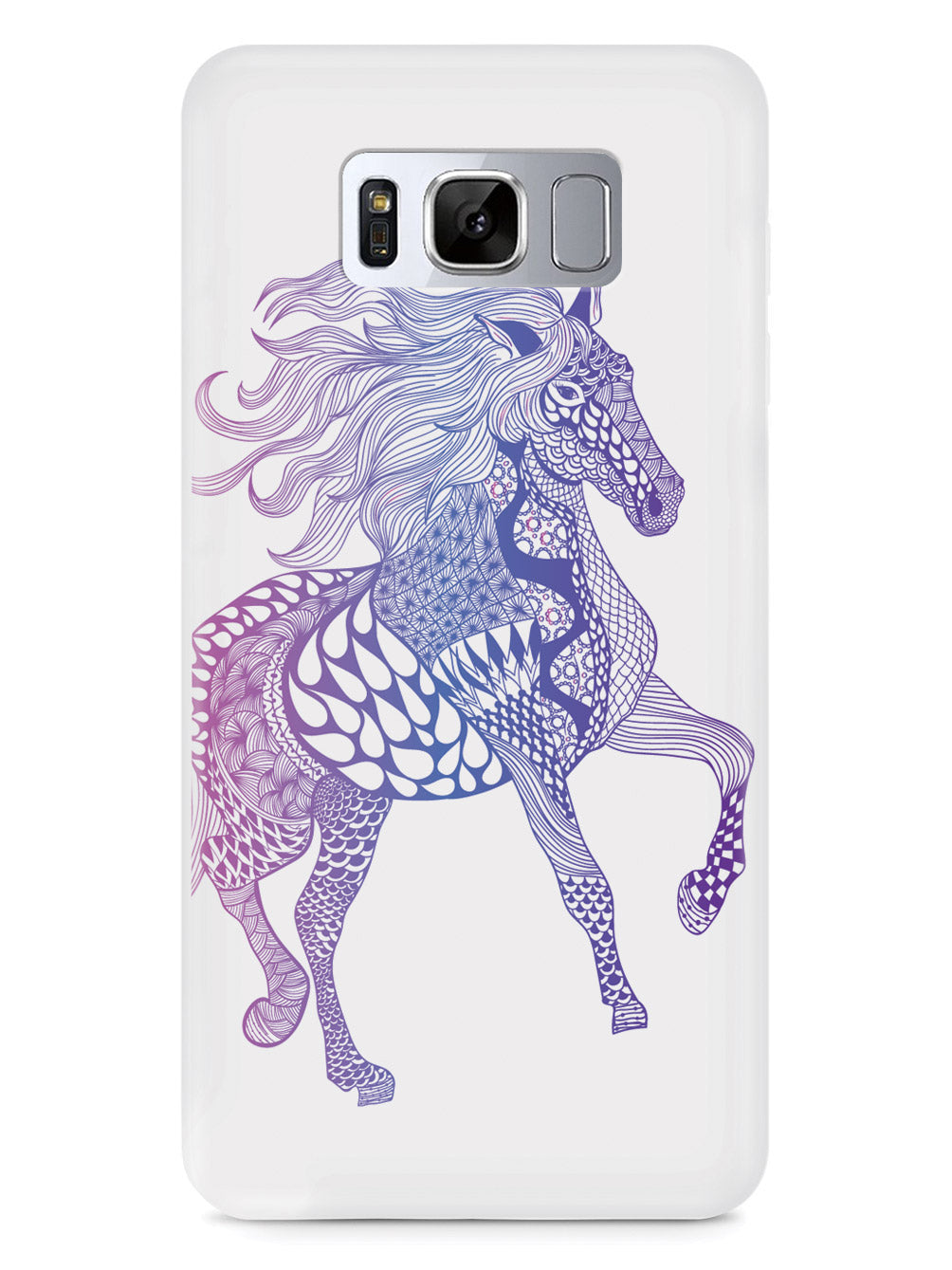 Zentangle Horse - Magenta Haze - White Case