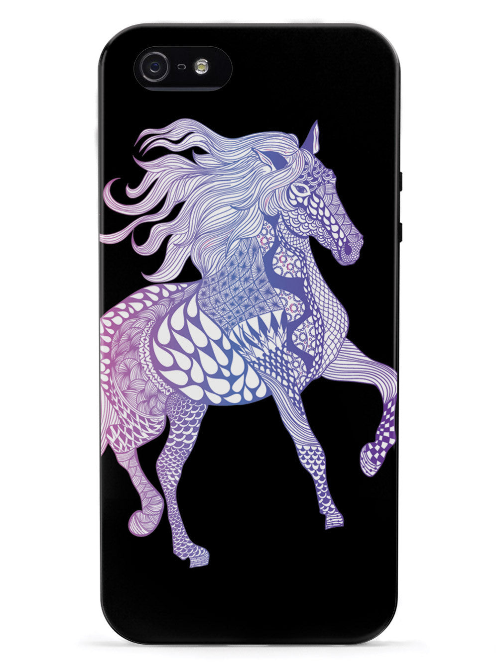 Zentangle Horse - Magenta Haze - Black Case