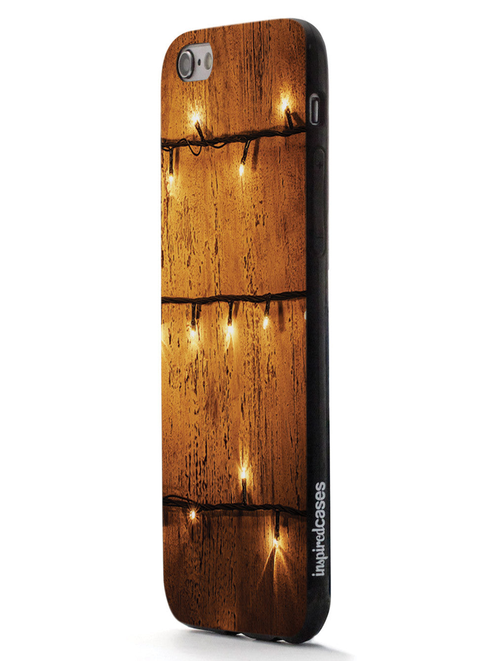 Christmas Lights on Wood - Black Case