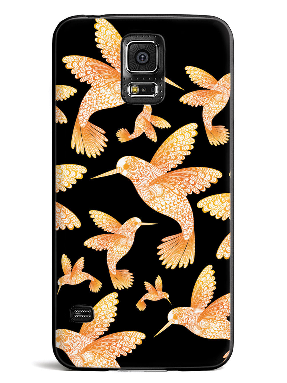 Zentangle Hummingbirds - Orange - Black Case