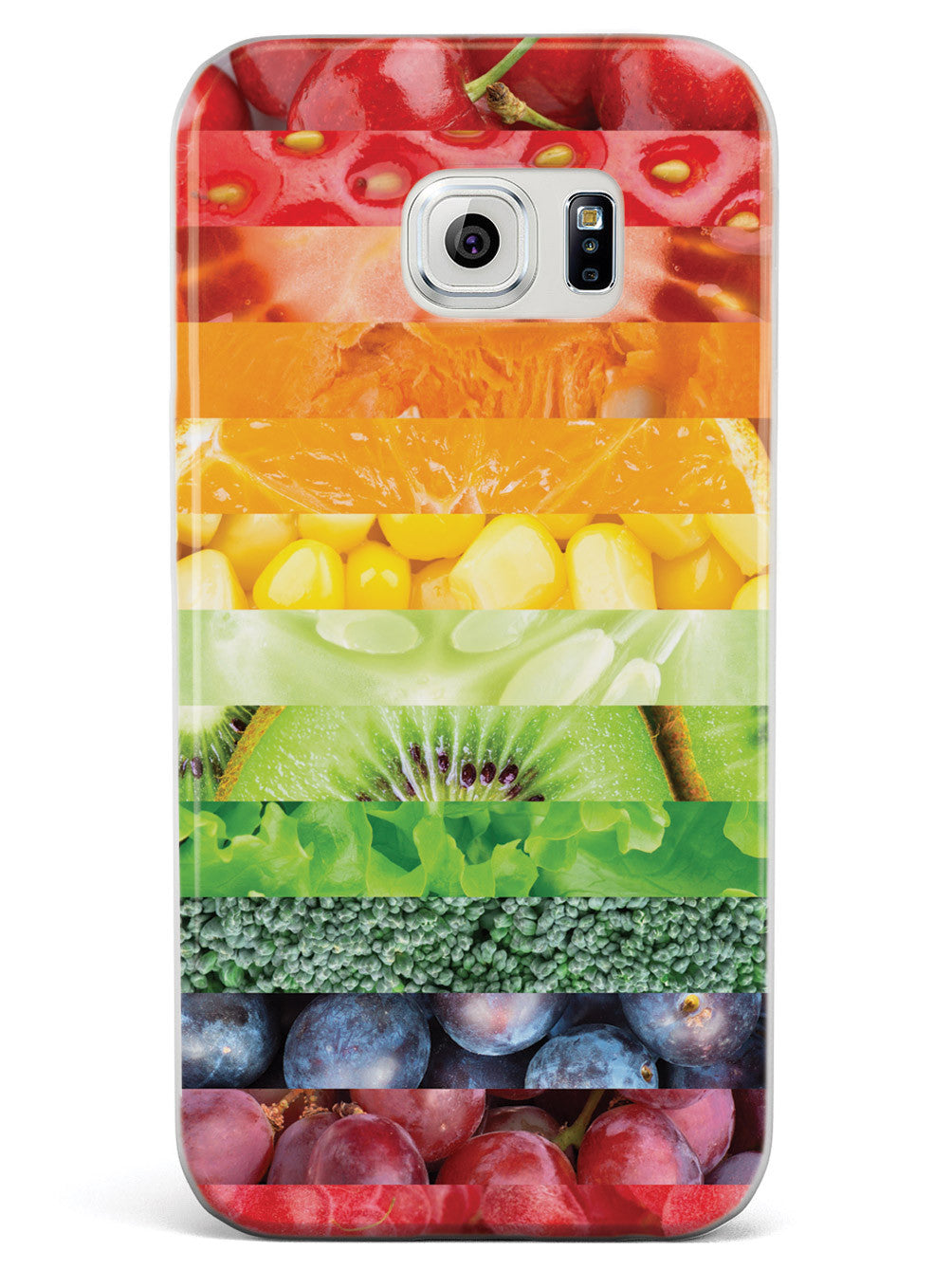 Healthy Food Multicolor Stripes - White Case
