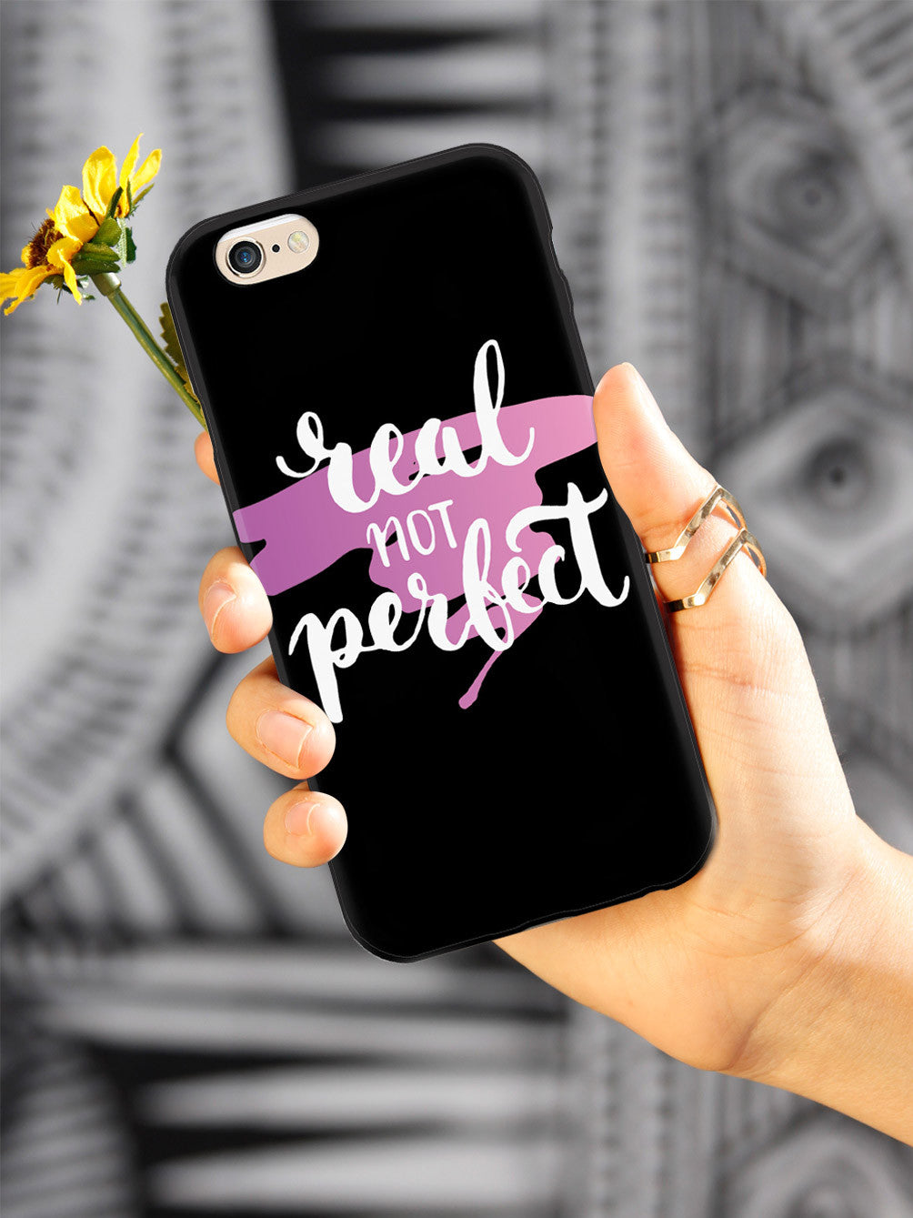 Real not Perfect - Pink Background - Black Case