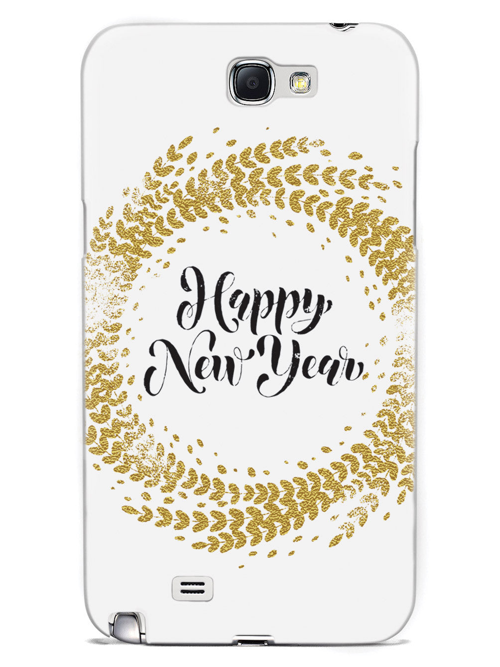 Happy New Year - Gold Leaf Circle - White Case