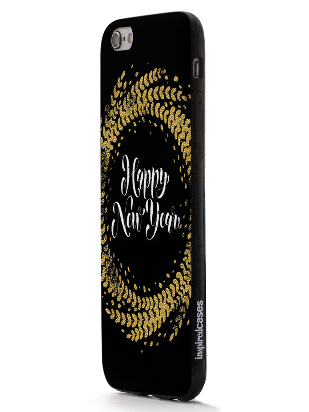Happy New Year - Gold Leaf Circle - Black Case