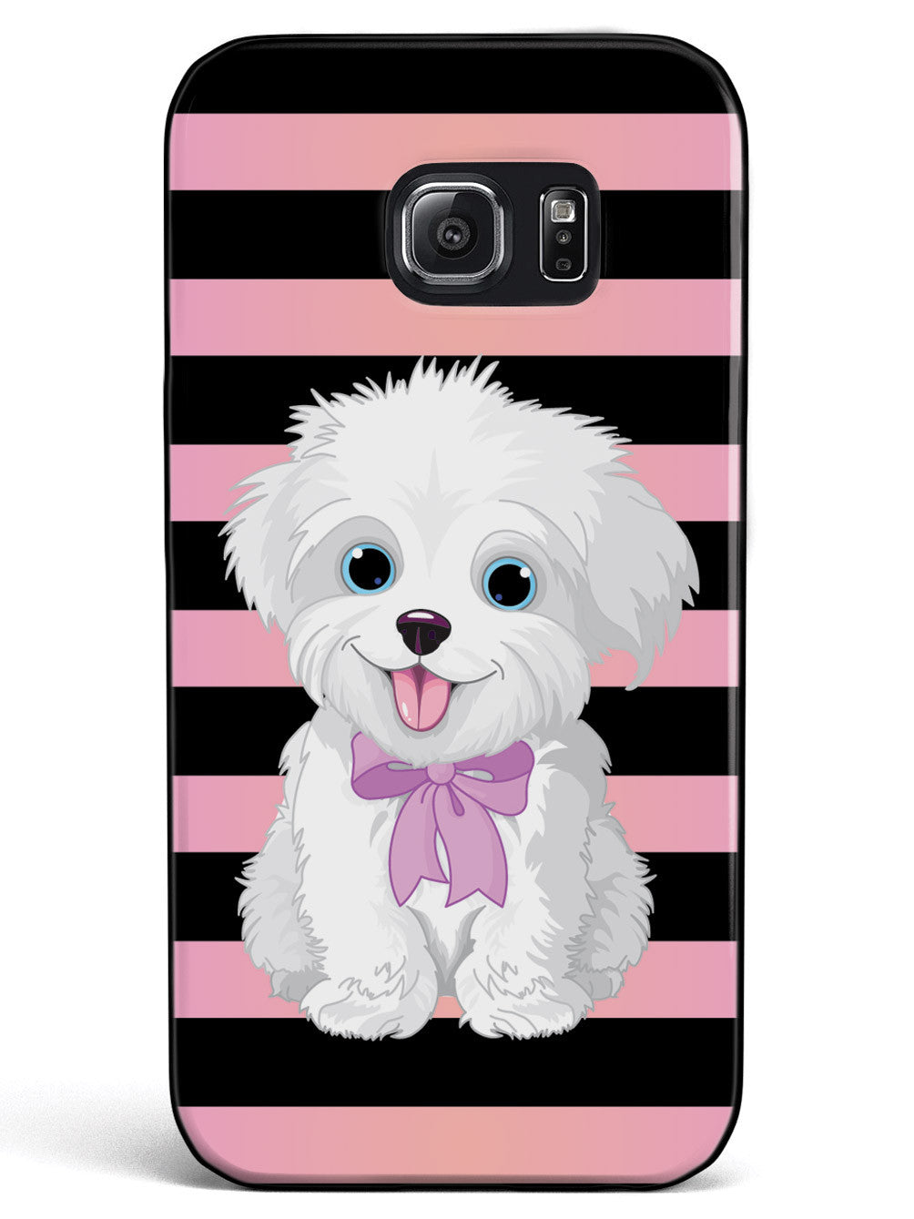 Cute Maltese Puppy Cartoon - Black Case
