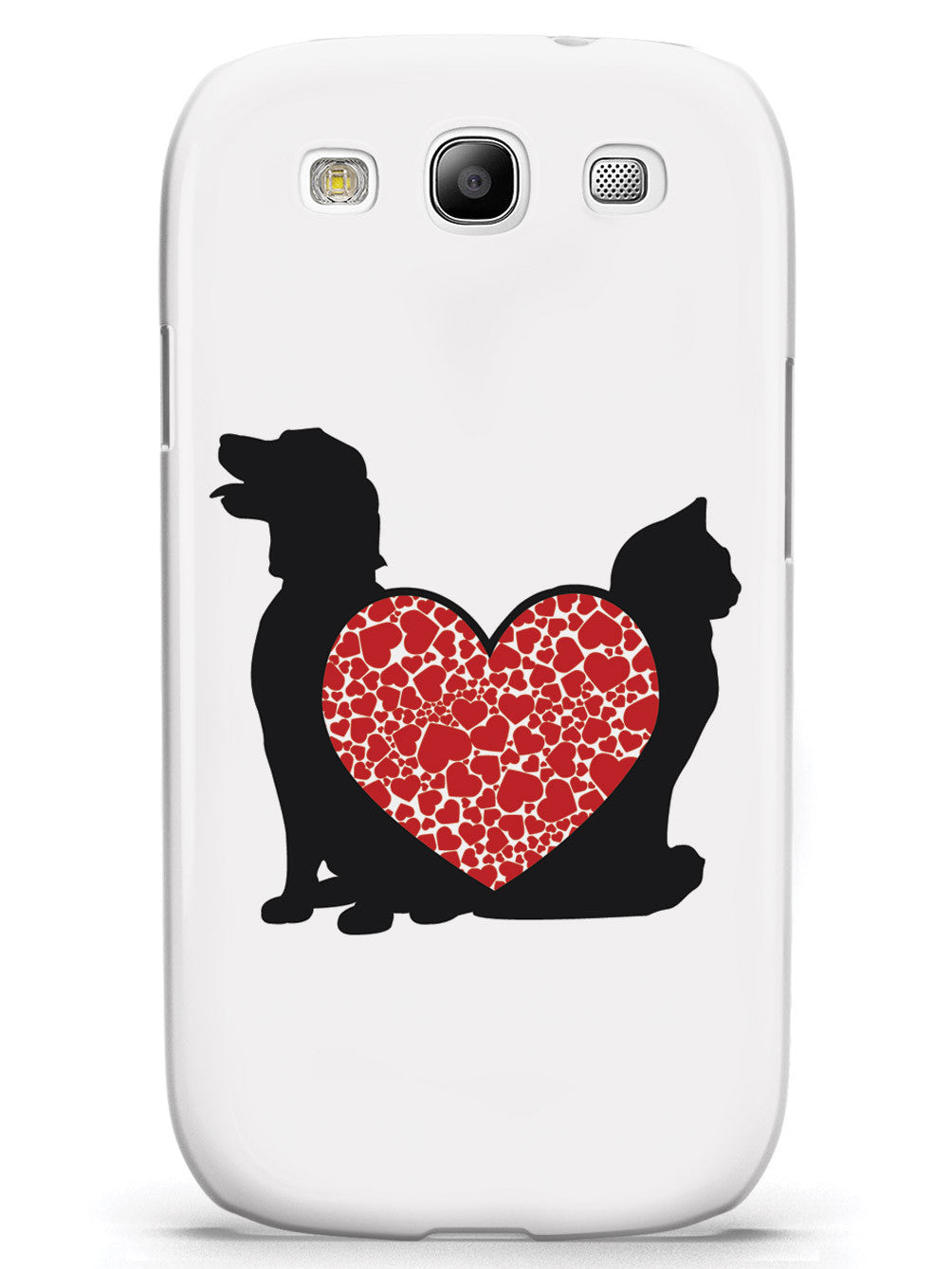 Cat & Dog - Red Heart - White Case